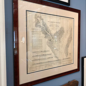 Framed Vintage Nautical Chart, Annapolis Harbor, 1874 - Annapolis Maritime Antiques