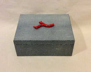 Jewelry box, LARGE, stingray with coral - Annapolis Maritime Antiques