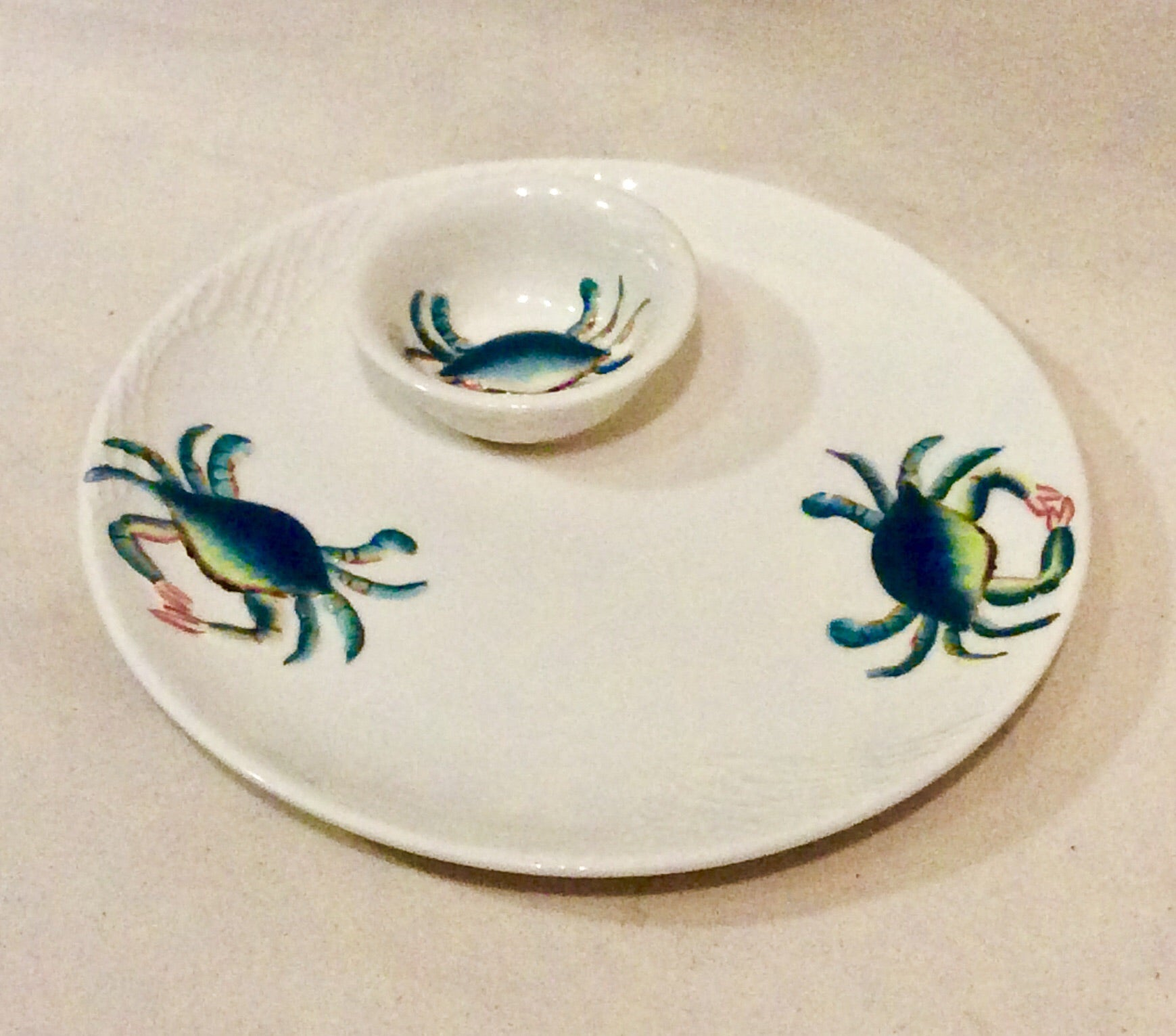 CHIP & DIP SET, Blue Crab - Annapolis Maritime Antiques