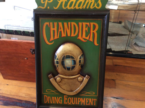 Sign, 3-D, P. Adams Chandler Diving Equipment, Hand-carved and Hand-painted