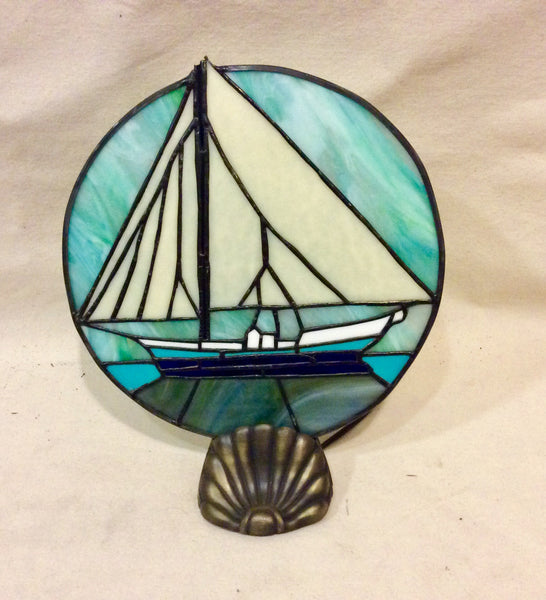 Stained Glass Light, Sailboat - Annapolis Maritime Antiques