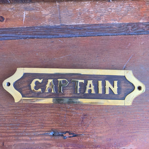 Sign, wood and brass, Captain, 8""