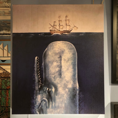 Whale & Tall Ship Print on Canvas - Annapolis Maritime Antiques
