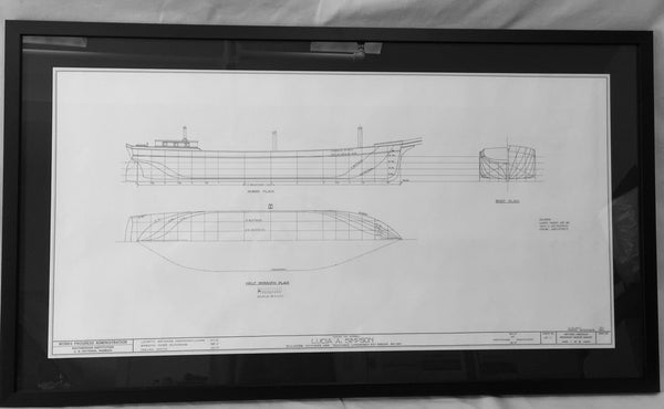 Art, Lucia A. Simpson, Framed Hull Plan - Annapolis Maritime Antiques