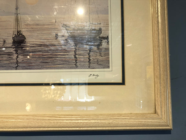 Framed print, Sailboats, G. Hardy