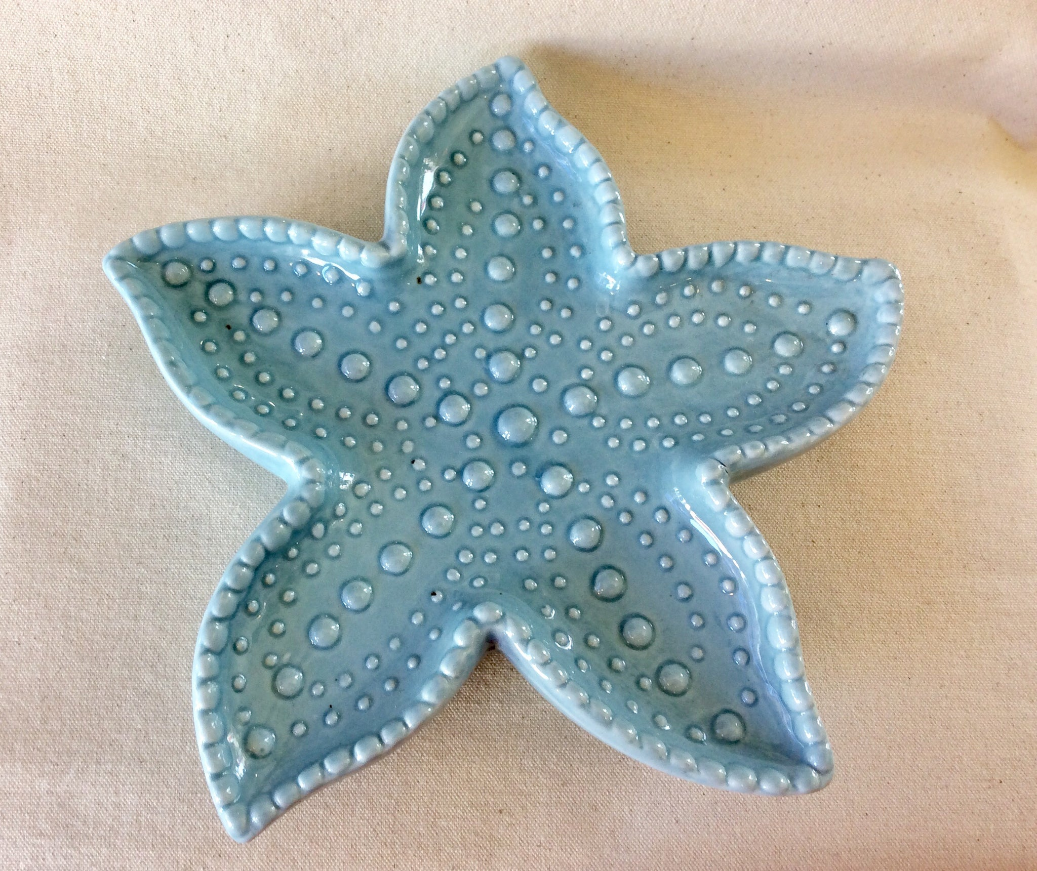 Starfish Plate, Blue Ceramic