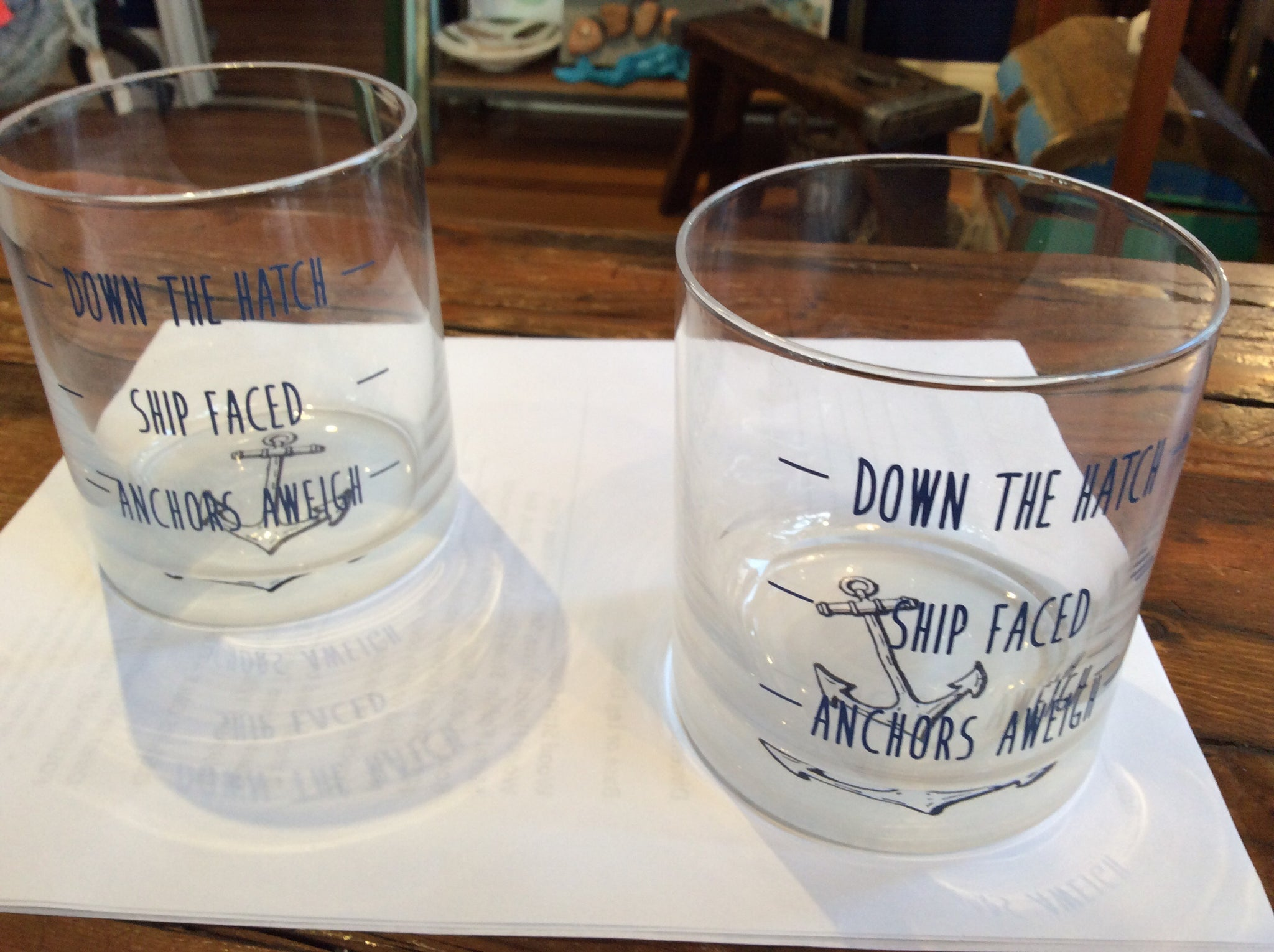 "Glass, ""Down the Hatch"" - Annapolis Maritime Antiques"