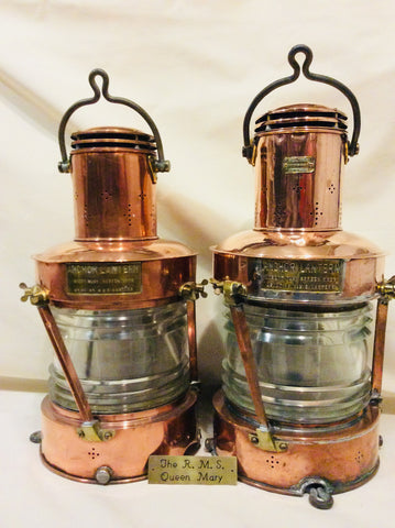Lanterns, pair from RMS Queen Mary