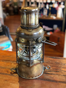 Lantern, Brass with fresnel glass, oil wick hurricane lamp inside - Annapolis Maritime Antiques