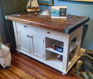 Kitchen Center Island with Liberty Ship Hatch Cover Top