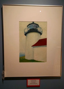 Art, Oil painting on board Curtis Island Light #3 - Annapolis Maritime Antiques