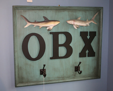 OBX Sharks Art and Coat Hanger, Wood - Annapolis Maritime Antiques