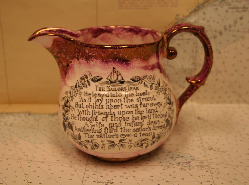 "Ceramic pitcher with poem ""The Sailors Tear"" - Annapolis Maritime Antiques"