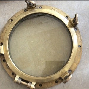 Porthole, 21 in. diameter WWII Liberty Ship, Brass, Zane Grey - Annapolis Maritime Antiques