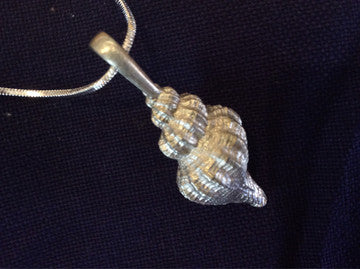Pewter Waved Whelk Necklace