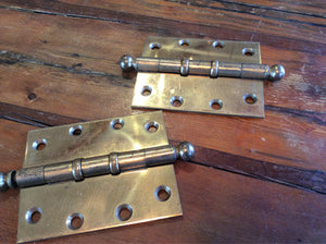 "Ship Door Hinges, Old Brass, Circa ,1920s 5"" Pair"