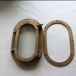 Porthole, brass, 15 in. x 10 in. - Annapolis Maritime Antiques