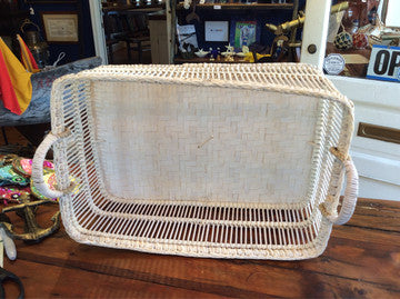Basket, White-washed, Medium - Annapolis Maritime Antiques