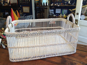 Basket, White-washed, Large - Annapolis Maritime Antiques