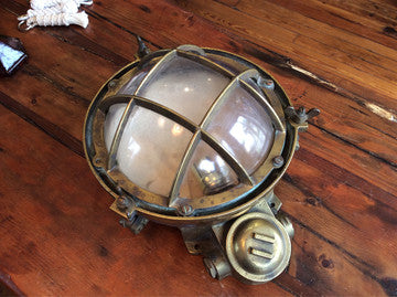 Light, Porthole, Brass 10 Inch Wired For 120v Bulb - Annapolis Maritime Antiques