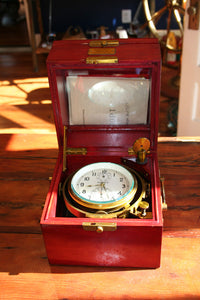 Chronometer, Russian Marine Gimballed, Brass with Rosewood Case - Annapolis Maritime Antiques