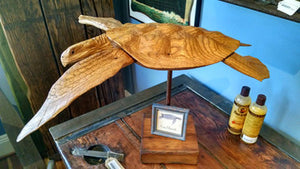 Artwork, Sea Turtle On Stand, carved wood - Annapolis Maritime Antiques
