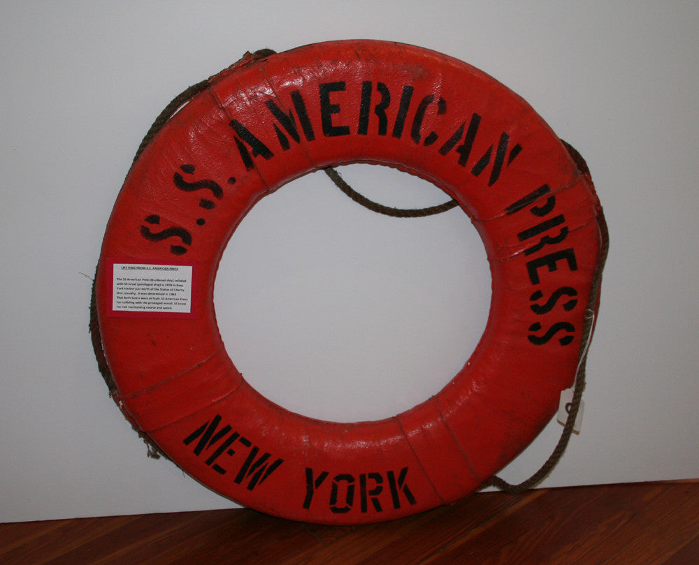 Life Ring, SS American Press 1959 Collision with SS Israel New York Harbor