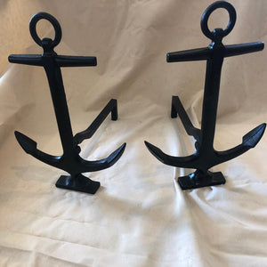 Andirons, Cast, With Anchor Front, circa 1800's
