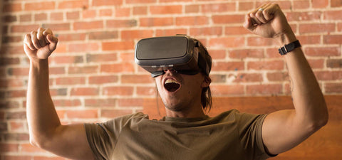 Man Excited with VR KIX Carbon Fiber