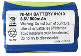 BATTERY 81010-NO: Nortel, T7406E, NT8B45AN, 3.6 Volts, 900mAh