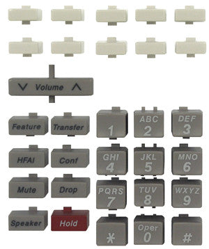 BUTTONSET 30300: Avaya, MLX 5, MLX 10, Old Style, White, 31 Key