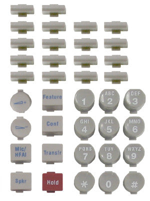 BUTTONSET 30945: Avaya, Euro 18, White, (38 piece set)