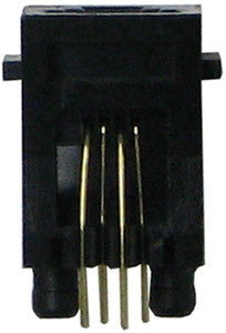 CONNECTOR 36004: Handset Jack, 4P4C, Top Entry w/Flange, Alig.Pin