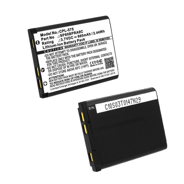 Panasonic KX-TCA285, 3.7V, 600mAh, Li-Ion Replacement Rechargeable Battery