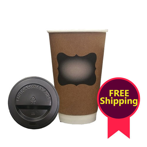 16oz Double Wall Coffee Cups & Lids (QTY: 50)