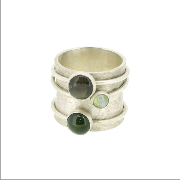 Three Stone Spinner Ring by Katherine Grocott at eclecticartisans.com