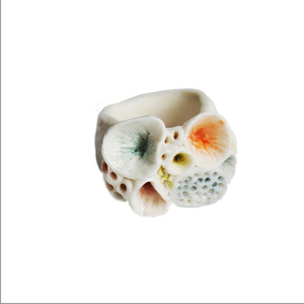 Rock Coral Ring (white & colour detail) by Katherine Wheeler at eclecticartisans.com