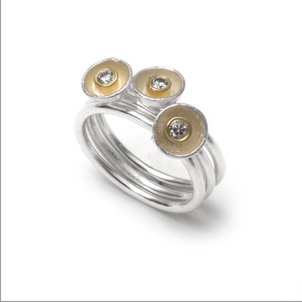 3 Acorn Cup Rings with Diamonds by Shimara Carlow, at eclecticartisans.com