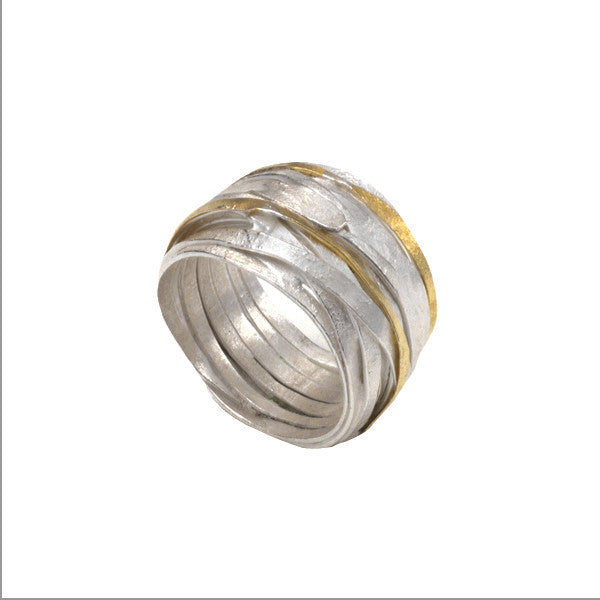 1 mm Silver and Gold Wrap Ring by Shimara Carlow, at eclecticartisans.com