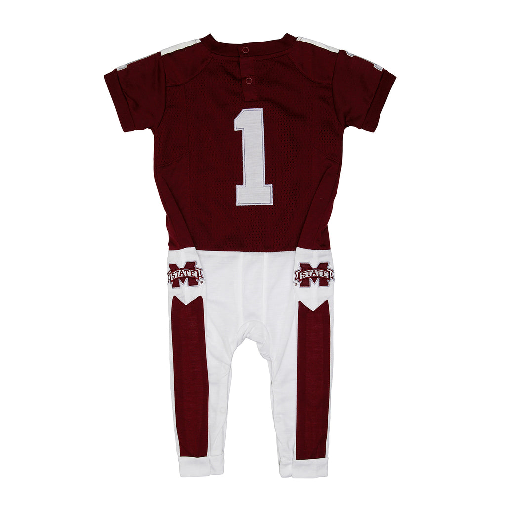 "Mississippi State University ""Onesie"" Baby and Infant Football Uniform Pajama"