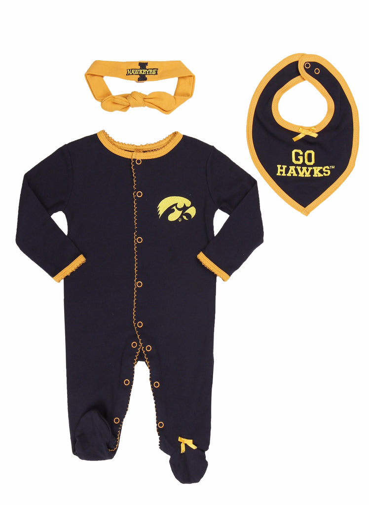 "University of Iowa Girls ""Three-Piece"" Sleeper Set - Fast Asleep PJ's"