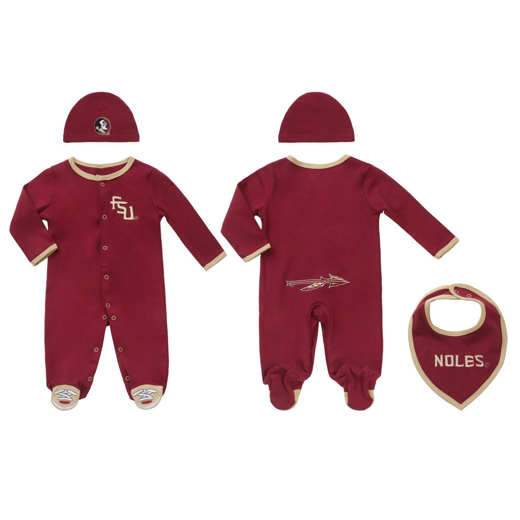 Florida Sate Seminoles FSU Baby (3 pc) Footie, Bib and Hat Set