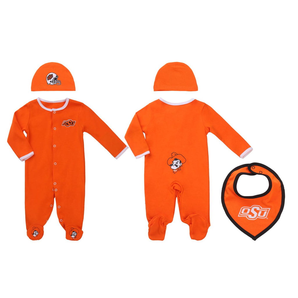 Oklahoma State Cowboys Baby (3 pc) Footie, Bib and Had Set