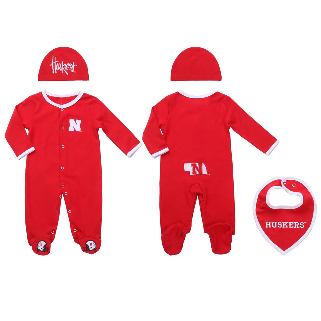 Nebraska Cornhuskers Baby (3 pc) Footie, Bib and Had Set