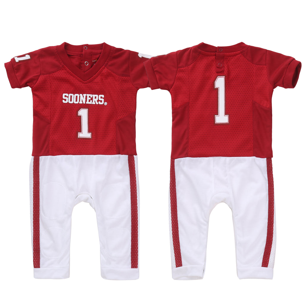 "University of Oklahoma OU Sooners ""Onesie"" Baby and Infant Football Uniform Pajama"