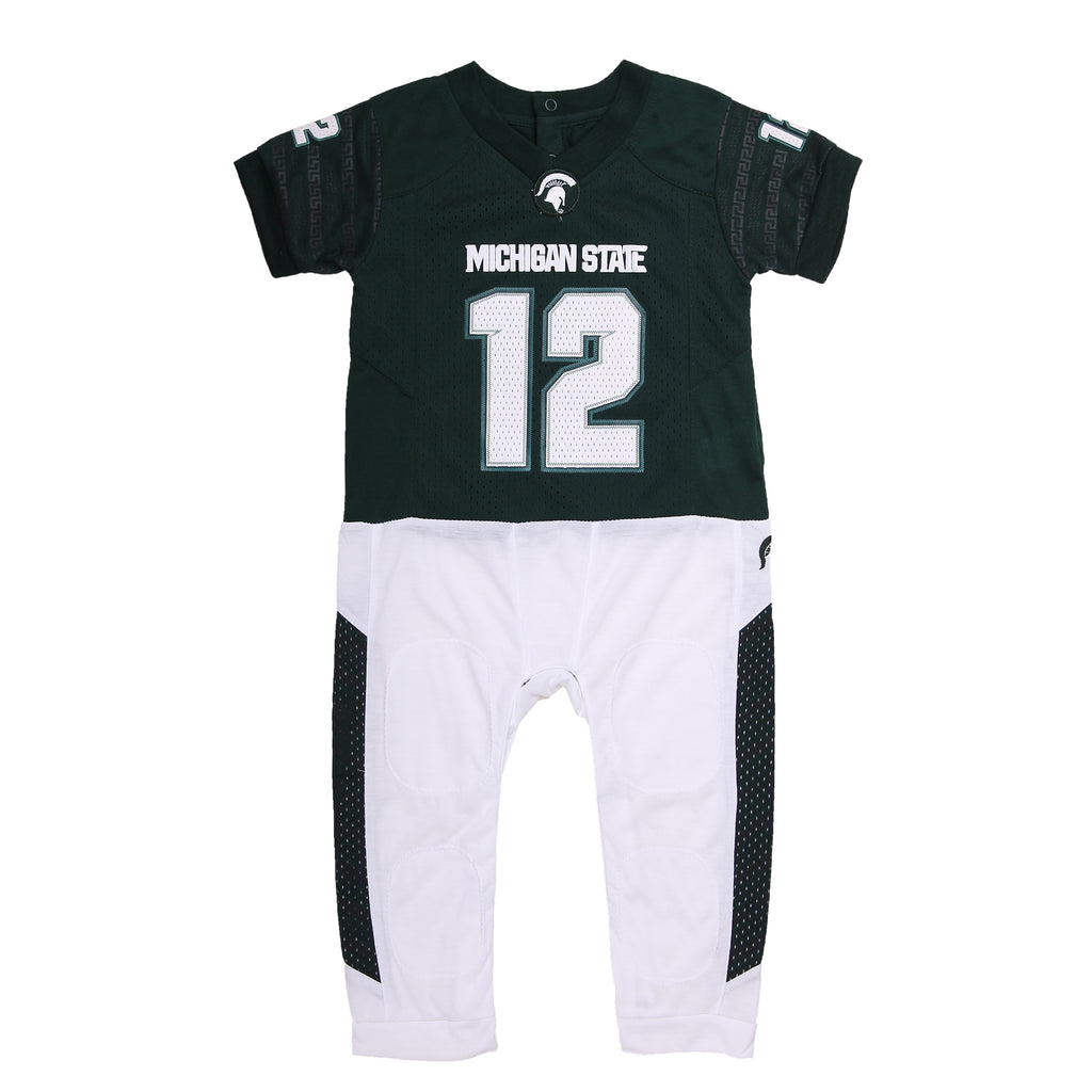 "Michigan State University ""Onesie"" Baby and Infant Football Uniform Pajama"
