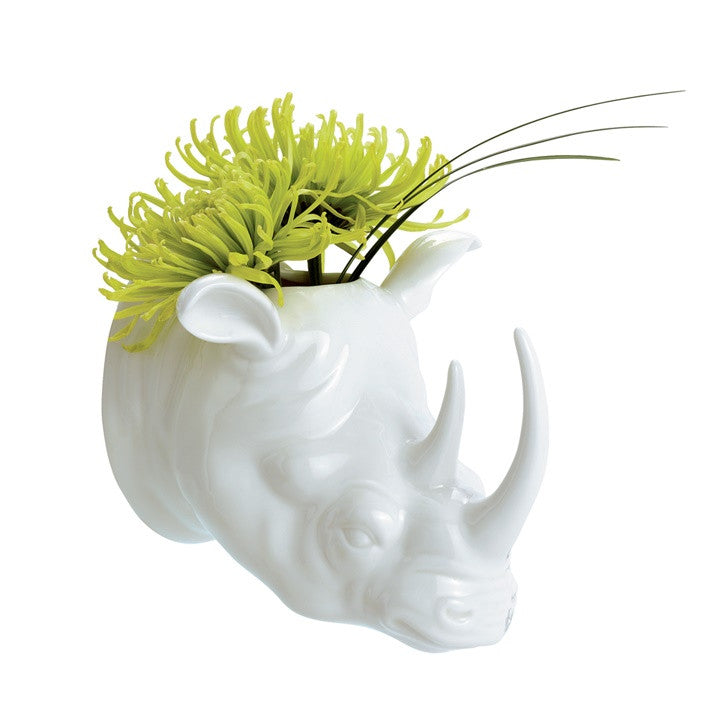 Safari Porcelain Rhino Wall Vase