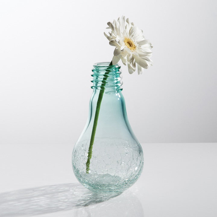 Lightbulb Glass Crackle Vase