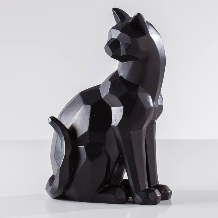 Carved Angle Sitting Cat Decor