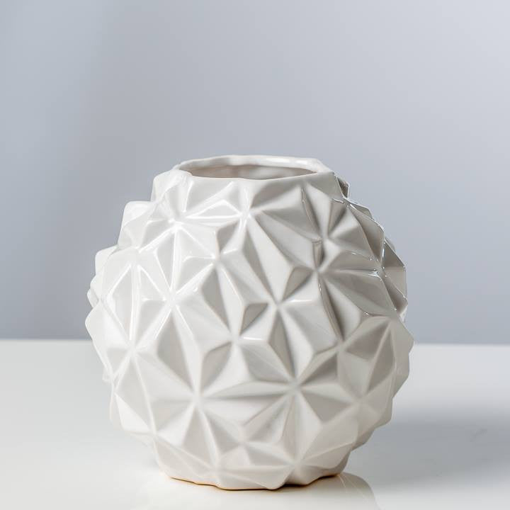Crumple Ceramic Ball Vase